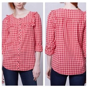 Anthro Holding Horses Red & peach plaid blouse/ S